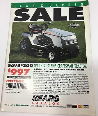 1993 vintage sears lawn garden sale catalog craftsman advantage - Sears Lawn And Garden