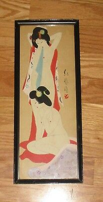 Vintage Old Japanese Nude Girls Hanpainted Silk Small Painting- Signed