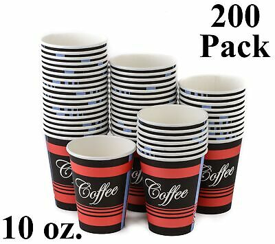 200 Pack 10 Oz. Eco Friendly Poly Paper Disposable Hot Tea Coffee Cups (No Lids)