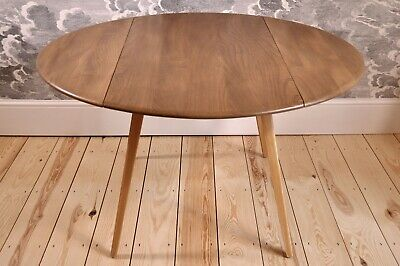Vintage retro 60's Ercol ercol oval circular drop leaf / extending plank table