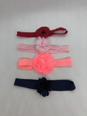 Lot of 4 Adorable Baby Girl Headbands one size Excellent condition