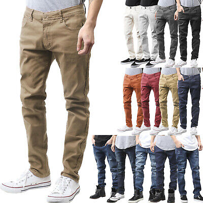 Mens Slim Fit Skinny Jeans Denim Pants Multi Color Casual Washed Fashion Hipster