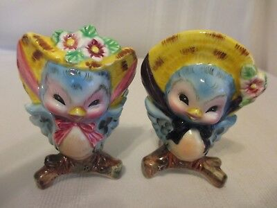Adorable Lefton PY Anthropomorphic Bluebird Salt & Pepper Shakers Excellent