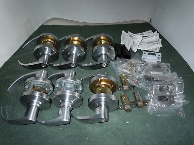 Set of 6 Commercial Lever- Door Lock sets, 4- Entry & 2- Passage for Parts