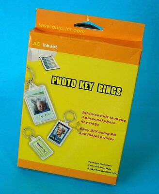 MAKE YOUR OWN  Photo Key Rings ~ NEW ~ Photo Paper and Keyrings Pack