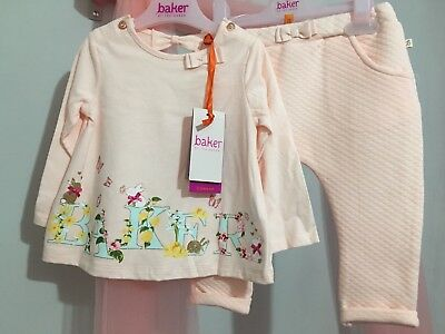 New Baby Girls Designer Ted Baker Pink Bunny Outfit Top & Bottoms 9-12m