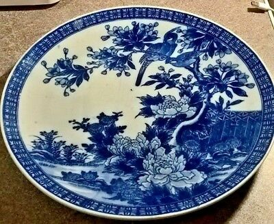 Old Blue & White Chinese Charger / Huge Plate