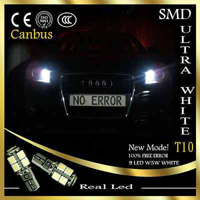 2x T10 LED 9SMD SIDELIGHTS CANBUS FREE ERROR WHITE 6000K AUDI A6 4F C6 2004-2011