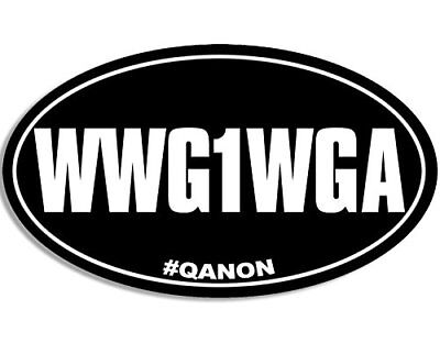 3x5 inch Oval WWG1WGA Sticker  - where we go one we go all q qanon trump bumper