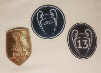 patch toppa CHAMPIONS LEAGUE WIN + TROPHY 13 + WORLD REAL MADRID 2018 2017 2019