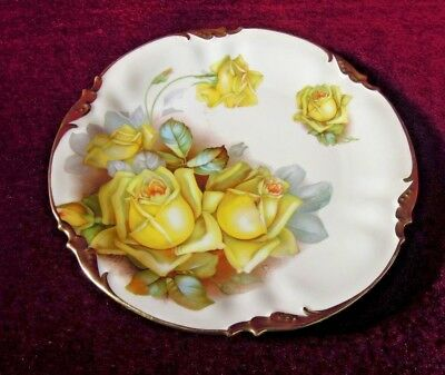 Prov Saxe Morimura Plate  China Yellow Roses  Made  in Germany