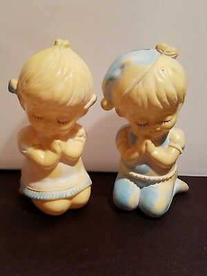 Vintage Pair Of Stahlwood Toy Banks Praying Boy And Girl