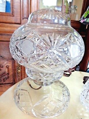 Vintage Art Deco Quality Bohemian Cut Crystal Boudoir Table Lamp Working