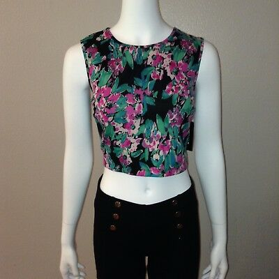 af160477a3 I Heart Ronson Crop Top Size L Large Womens Floral Sleeveless Tank Zip Up  Shirt