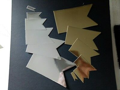 Die cut EMBELLISHMENTS TAGS 12 ITEMS GOLD & SILVER FOIL CARD