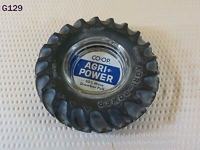 Vintage Co-Op Agri-Power Farm Tractor Tire Glass Ashtray Store Advertising Rare