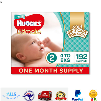 Huggies Ultimate Nappies Unisex Size 2 Infant 4-8kg 192 Count One-Month Supply