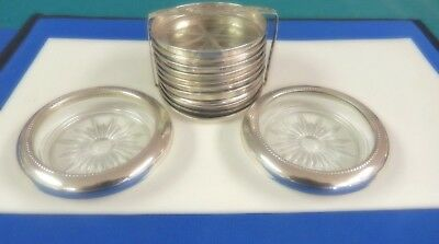 Antique - Frank M. Whiting & Co. - (2) Sterling Silver And Glass Coasters And