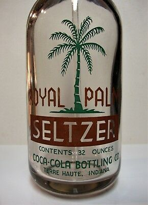 Royal Palm Two Color Acl Coca-Cola Seltzer Bottle Terre Haute, Indiana Palm Tree