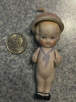 "Antique MINIATURE 31/2"" Bisque JOINTED Arms GIRL w Bisque Hat Dollhouse DOLL"