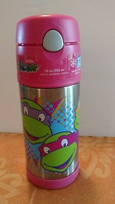 NWT FUNtainer PINK Teenage  Ninja Turtles 12oz insulated kids thermos bottle