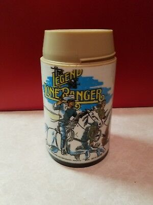 Vintage 1980 The Legend of the Lone Ranger Black Plastic Thermos Wrather Prod.