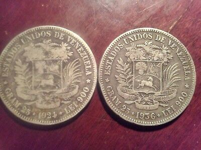 Lot of 2 Silver 5 BOLIVARES Coins FROM VENEZUELA 1924 and 1936