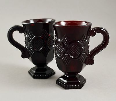Set of 2 Avon 1876 Cape Cod Collection Ruby Red Glass Pedestal Coffee Mugs