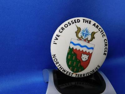 I Crossed The Arctic Circle Northwest Territories Button Vintage Pin Back
