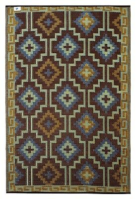 Fab Habitat Indoor/Outdoor Plastic R Lhasa Royal Blue & Choclate Brown 150x238cm