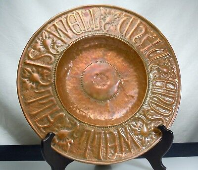 Vintage Antique Arts & Crafts Hammered Copper Plate        53507