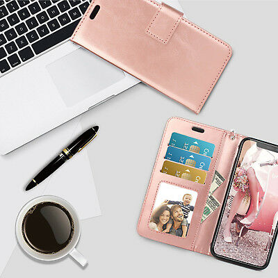 Luxury Leather Folio Stand Wallet Case Rose Gold Cover For iPhone X Samsung S9