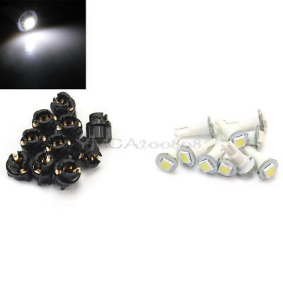 10x Car 0.2W T5 LED Replace White Light Lamp Bulb for Dashboard Instrument Panel