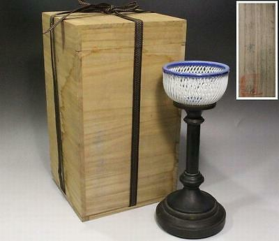 Japanese openwork Glass shade candlestick lantern Antique Meiji Taisho