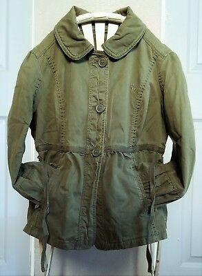 Green Small Abercrombie Fitch Zara Girls Gathered Trench Coat Olive Jacket Crop