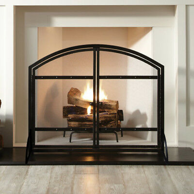Pleasant Hearth Harper Arched Fireplace Screen with Heavy Duty Steel Doors