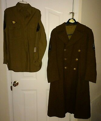 WWII U.S. Army Wool Trench Coat and Shirt,  15 x 33, SSG, Named