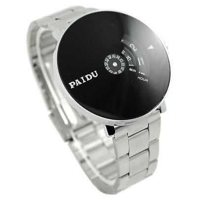 Mens Turntable Dial Watch Stainless Silver Band Quartz Acrylic Round Wrist Watch
