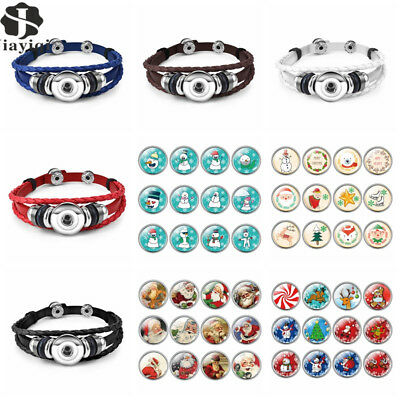 12pcs/lot Christmas Snap Button Leather Bracelet For Women Men Gifts Santa Claus