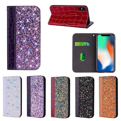 Shiny Crocodile Grain Magnetic Card Wallet Stand Flip Case Cover For Lot Phones