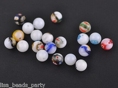 50pcs 8mm Round Lampwork Millefiori Glass Charms Loose Spacer Beads White Mixed