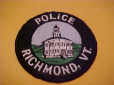 Richmond Vermont Police Patch Shoulder Size Unused 4 X 4 Inch
