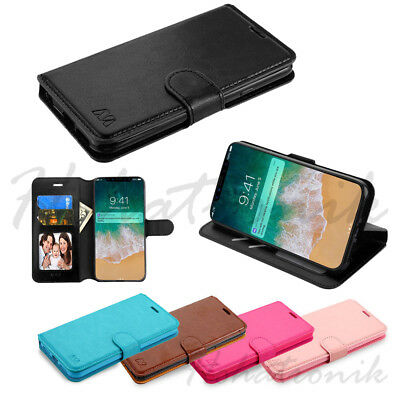 Apple iPhone XS Max Leather Flip Wallet Card Slot Magnet Fold Case Cover Pouch