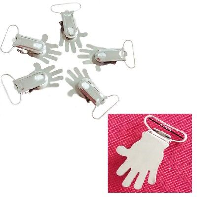 Dummy Hand Clip Snap Hook Buckle Hand Shape Silver For Webbing Straps 25mm 10pcs