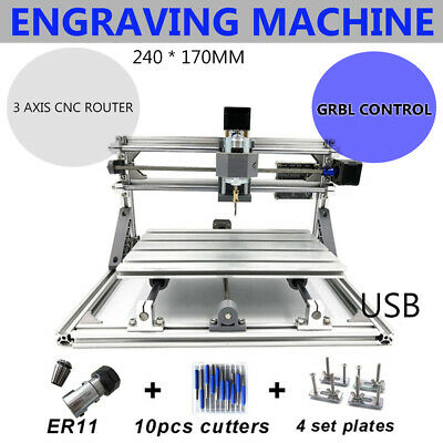 3 Axis Mini CNC Router 2417 Wood Carving Engraving Machine Cutter Engraver UPS