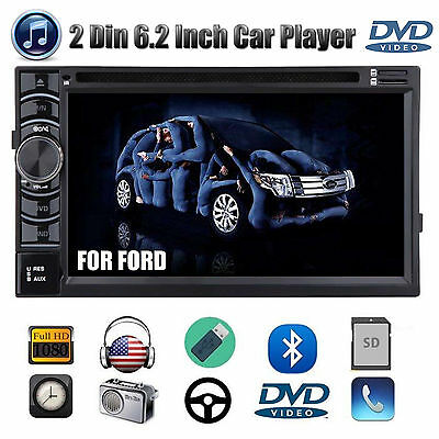 "Double 2 DIN 6.2"" Car Stereo Radio CD DVD Player FM/AM/USB/SD Bluetooth For Ford"