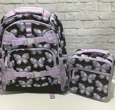 Pottery Barn Kids girls Large Brown & lavender BUTTERFLY Backpack Lunch Box Set