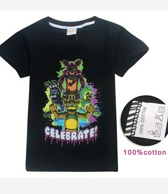 Five nights at Freddy's FNAF Celebrate Tee Shirt Sizes 6 8 10 New