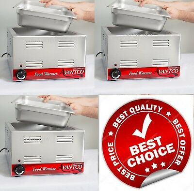 """3 PACK Full Size 12"""" x 20"""" Electric Countertop Food Pan Warmer Commercial Chafer"""