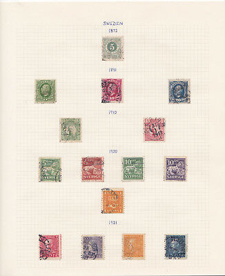 Sweden stamp collection on album pages